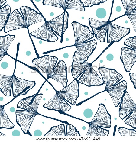 Seamless pattern design with hand drawn gingko biloba leaves, nature themed repeating background, elegant and trendy surface pattern for web and print purposes. - raster version
