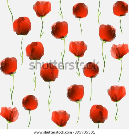 Seamless pattern design with poppy flowers on a white background - stock photo