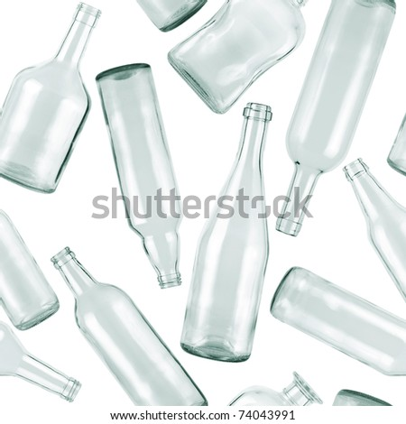 Seamless pattern. Empty bottles on white background. - stock photo