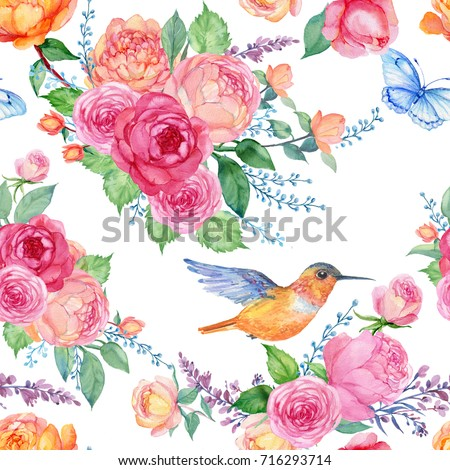 Seamless Pattern For FabricWallpaper Bouquets Of Roses A Butterfly And Little