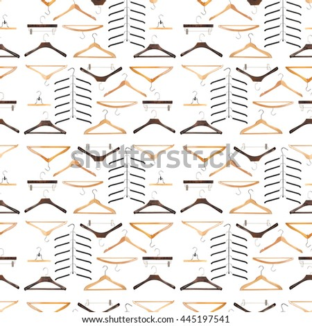 "Seamless pattern for fashion - various wooden and metal closing hangers on white background, idea ""nothing to wear again"" - stock photo"