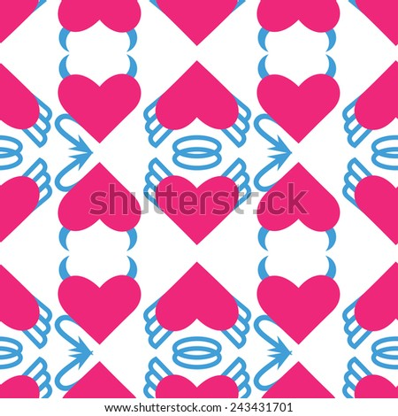 Seamless pattern for Valentine's day - angel and devil hearts - stock photo