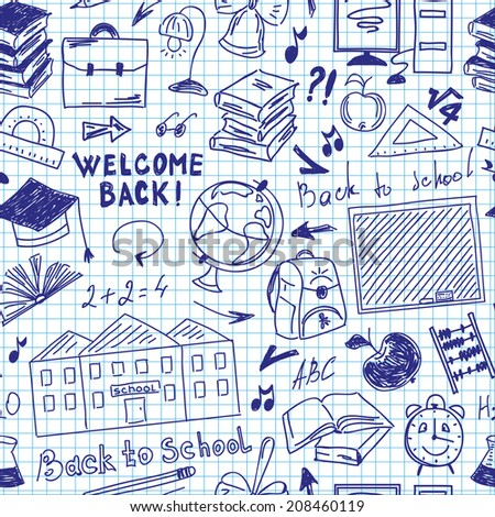 Seamless pattern freehand drawing of school supplies in notebook - stock photo