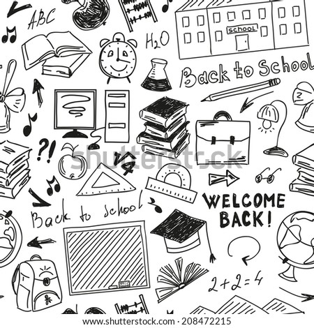 Seamless pattern freehand drawing of school supplies on white background - stock photo