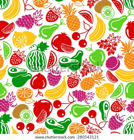 seamless pattern  fruits and berries icons