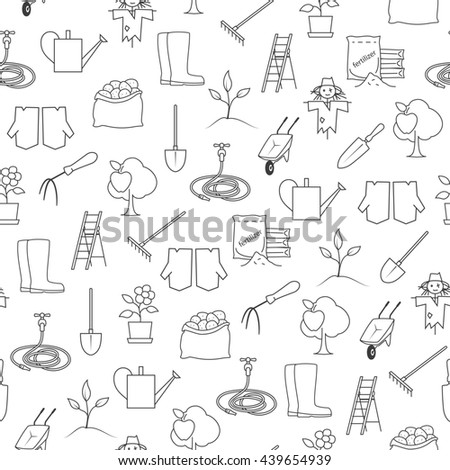 Set Garden Tools Brown Line Icons Stock Vector 433269916