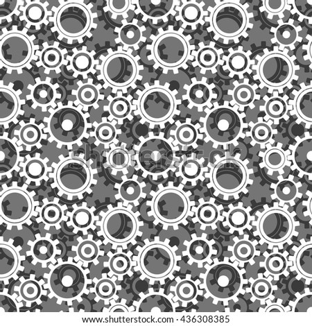 Seamless pattern gears, cogwheels. White black gears on gray background. Seamless background consisting of white black gears. Concept of motion. Industrial mechanics background. Fabric, wrapping paper - stock photo