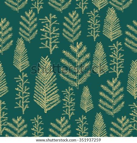 Seamless pattern gold christmas tree fir pine on green background. illustration hand drawn - stock photo