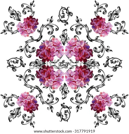 Seamless pattern in baroque style with flowers hydrangeas. Watercolor painting, drawing. Tile. Shawl. - stock photo