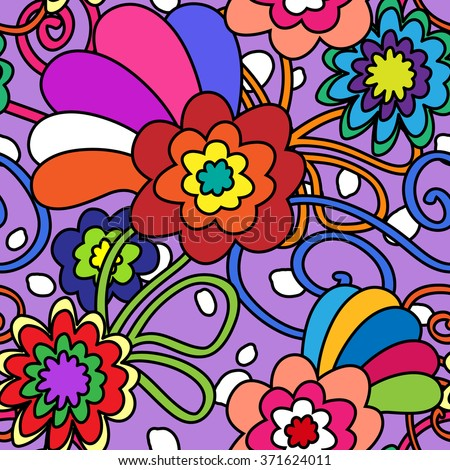 Seamless pattern in bold 70's retro flowers - stock photo