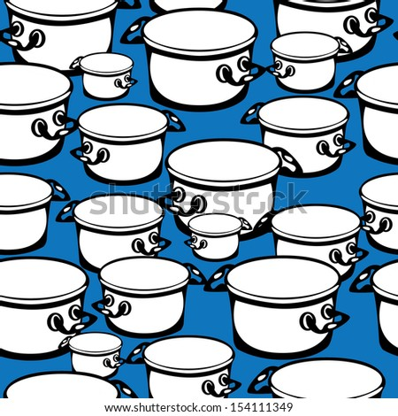 seamless pattern large and small pots