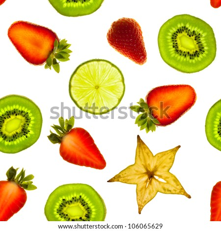 Seamless pattern made from fruit slices. Photo illustration. - stock photo