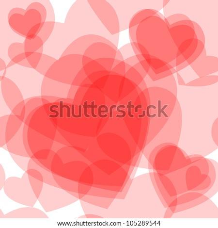 Seamless Pattern Made Cute Transparent Heart Stock Illustration