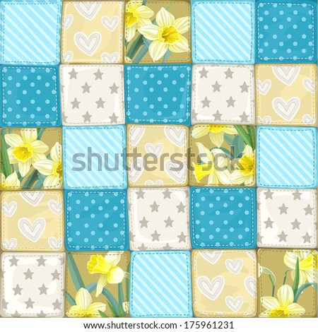 Seamless pattern of a quilt - stock photo
