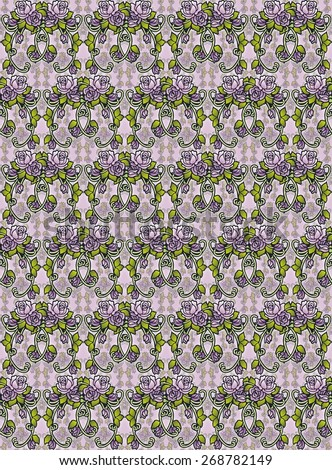seamless pattern of antique style rose swags - stock photo