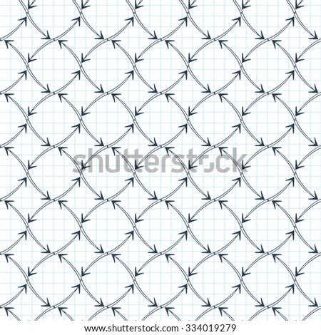 Seamless pattern of arrows on graph paper