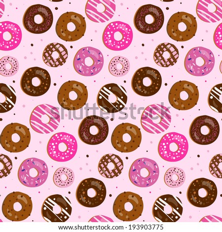 Seamless  pattern of assorted doughnuts with different toppings (birthday party, wedding celebration, wrapping paper, textile, wallpaper design) - stock photo