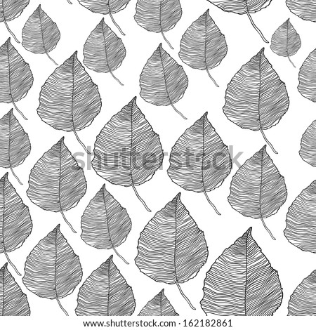 Seamless pattern of autumn leaves. A raster copy of a vector background.