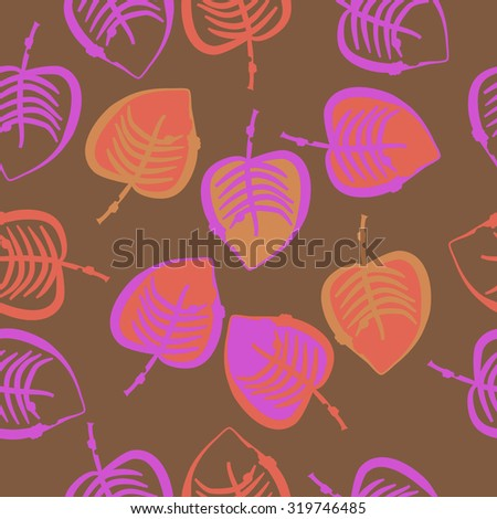 Seamless pattern of autumn motif with leaves. Stripes,leaves. Hand drawn.