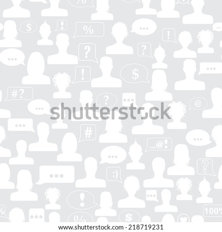 Seamless pattern of avatars and speech bubbles with various symbols - stock photo