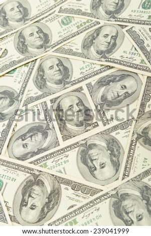 Seamless pattern of banknotes, money usa - stock photo