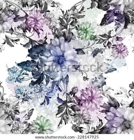 Seamless pattern of beautiful flowers  - stock photo
