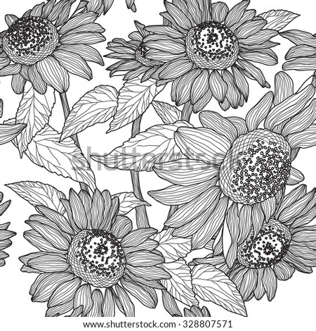 seamless pattern of black and white sunflowers. Raster version - stock photo