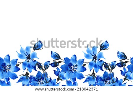 Seamless pattern of blue flowers border - stock photo
