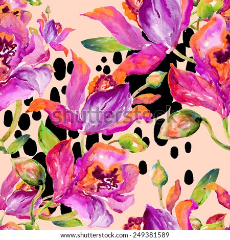 Seamless pattern of bright watercolor orchid. Hand painted watercolor painting.beautiful original pattern for design and decoration. wonderful print.Seamless floral background with flowers. L - stock photo
