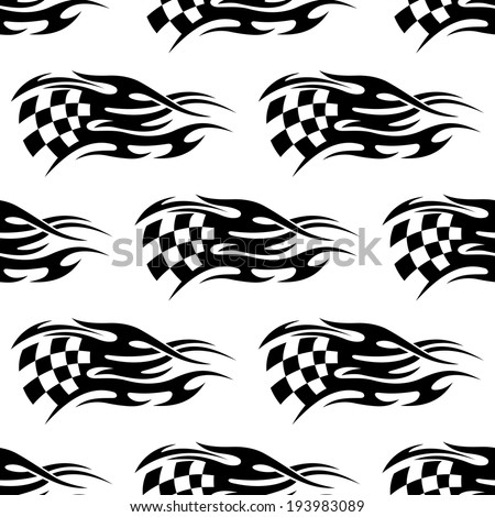 Seamless pattern of checkered black and white flag at the motor races with flowing motion lines to show the speed of the passing cars. Vector version also available in gallery - stock photo
