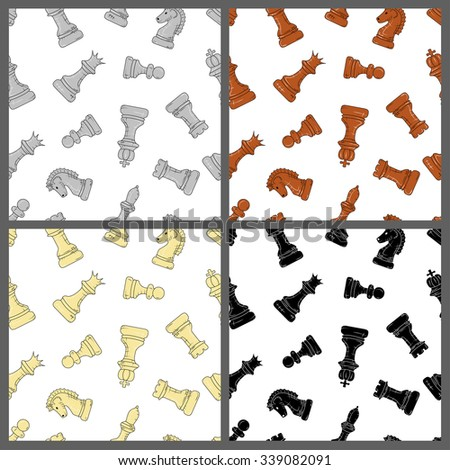 seamless pattern of chess pieces in different colors on white backgrounds. Doodle