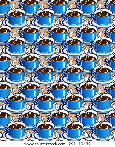 seamless pattern of coffee in blue china cups - stock photo