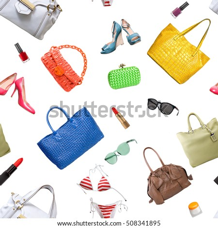 seamless pattern of collection women's accessories. Handbag, shoes, purse and lipstick