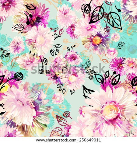 Seamless pattern of colorful asters. Seamless floral pattern of watercolor paints sketches on paper.beautiful original pattern for design and decoration. wonderful print B - stock photo