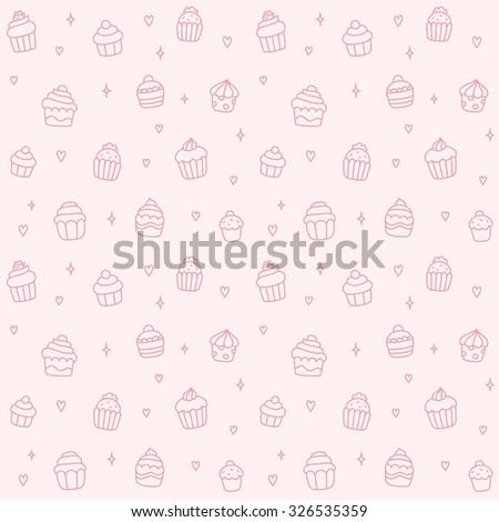 Seamless pattern of cute cartoon hand drawn cupcakes. - stock photo