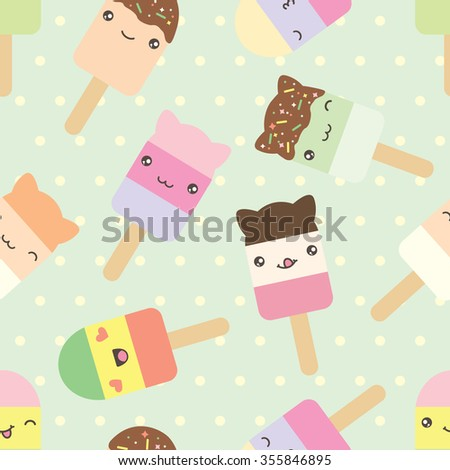 Seamless pattern of cute kawaii style ice cream bars . Decorative bright colorful design elements in doodle Japanese style isolated on retro polka dot background. Raster version. - stock photo