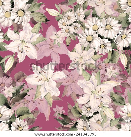 Seamless pattern of daisies and lilies K - stock photo
