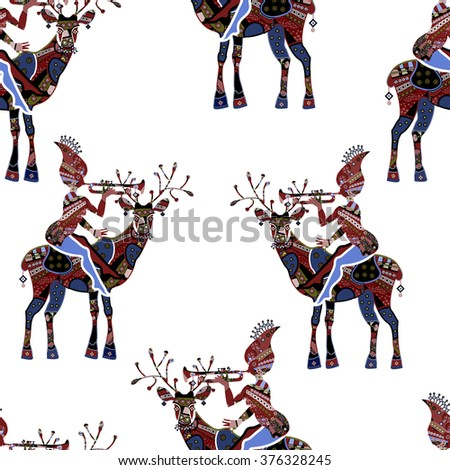 seamless pattern of deer and fairies - stock photo
