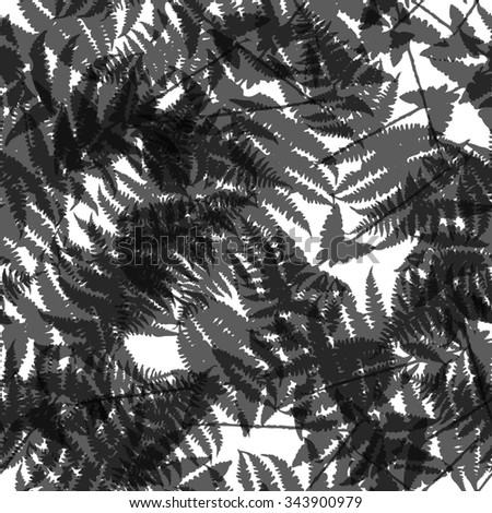Seamless pattern of fern leaves. illustration of jungle nature design. Black and white colors.
