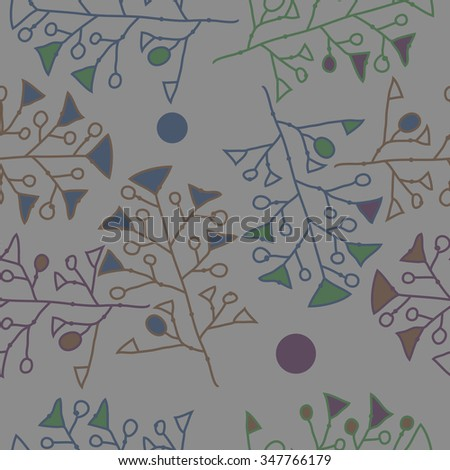 Seamless pattern  of floral  motif, doodles, branches,ellipses, spots, hole. Hand drawn.