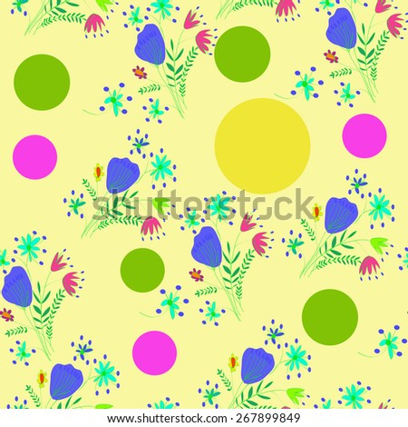 Seamless pattern of floral motif, ellipses, bouquets,circles. Hand drawn. - stock photo
