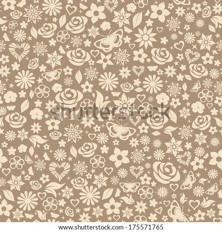 Seamless pattern of flowers, leafs, stars, butterflies and hearts. Beige on brown. Raster version. - stock photo