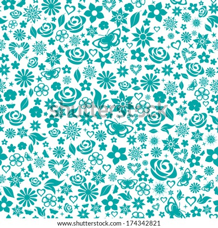 Seamless pattern of flowers, leafs, stars, butterflies and hearts. Turquoise on white. Raster version. - stock photo