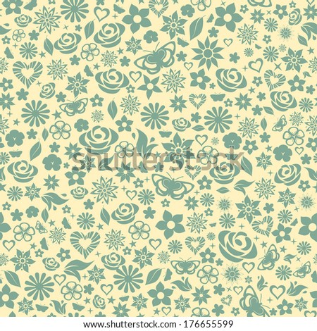 Seamless pattern of flowers, leafs, stars, butterflies and hearts. Turquoise on yellow. Raster version. - stock photo