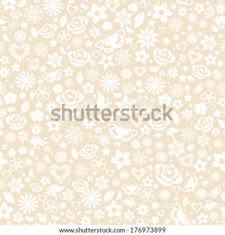 Seamless pattern of flowers, leafs, stars, butterflies and hearts. White on beige. Raster version. - stock photo