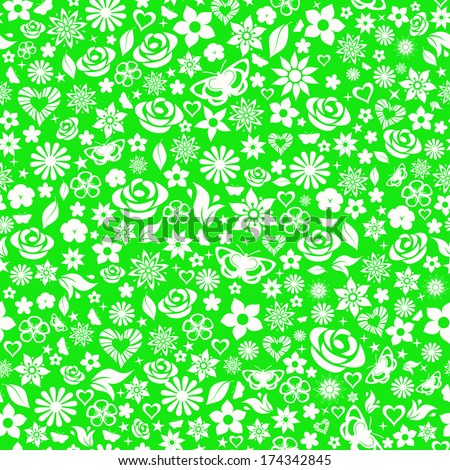 Seamless pattern of flowers, leafs, stars, butterflies and hearts. White on green. Raster version. - stock photo