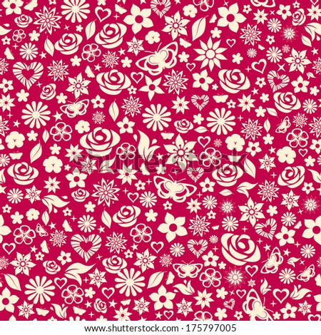 Seamless pattern of flowers, leafs, stars, butterflies and hearts. White on maroon. Raster version. - stock photo