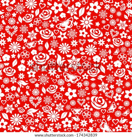 Seamless pattern of flowers, leafs, stars, butterflies and hearts. White on red. Raster version. - stock photo