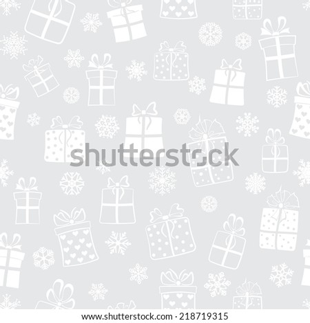 Seamless pattern of gift boxes and snowflakes, white on gray - stock photo