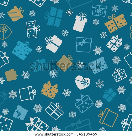 Seamless pattern of gift boxes on blue background